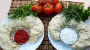 Ханум с мясом и картошкой на пару