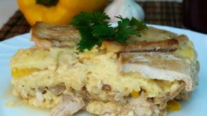 пирог с курицей и грибами без теста