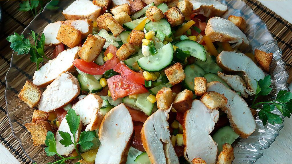 Салат Эдельвейс с курицей и овощами